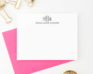 MS031 name and 3 letter monogramed stationary for women and men elegant classic monogram