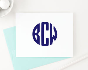 MS032 personalized folded 3 letter cirlcle monogram note cards for adults women men simple
