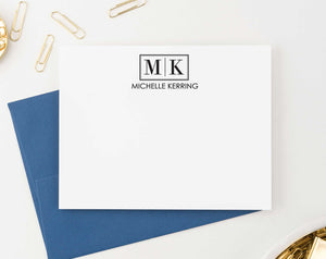 MS033 professional 2 letter monogram notecards with name men professional business.