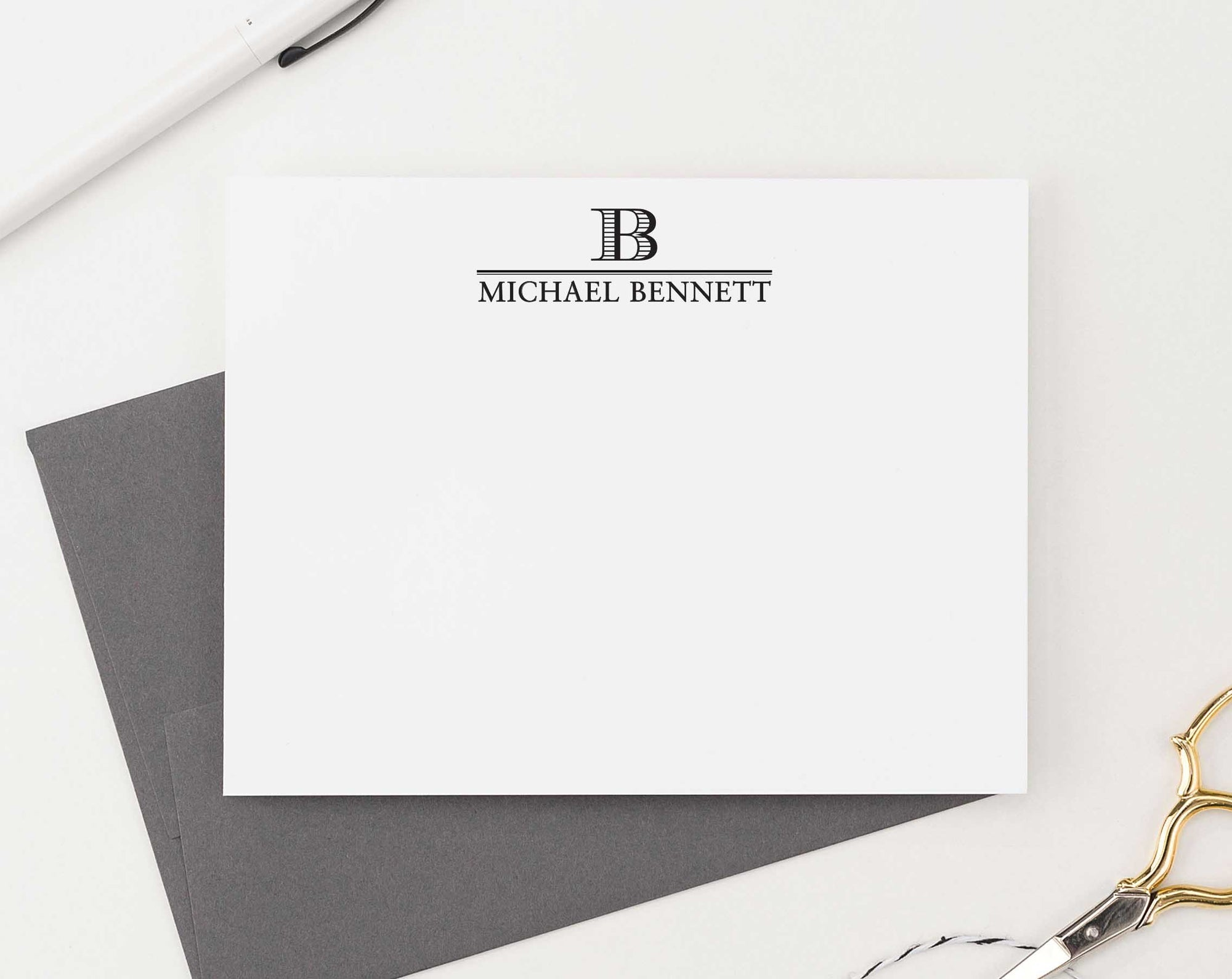 MS034 classic 1 initial monogramed notecards set personalized stationery professional