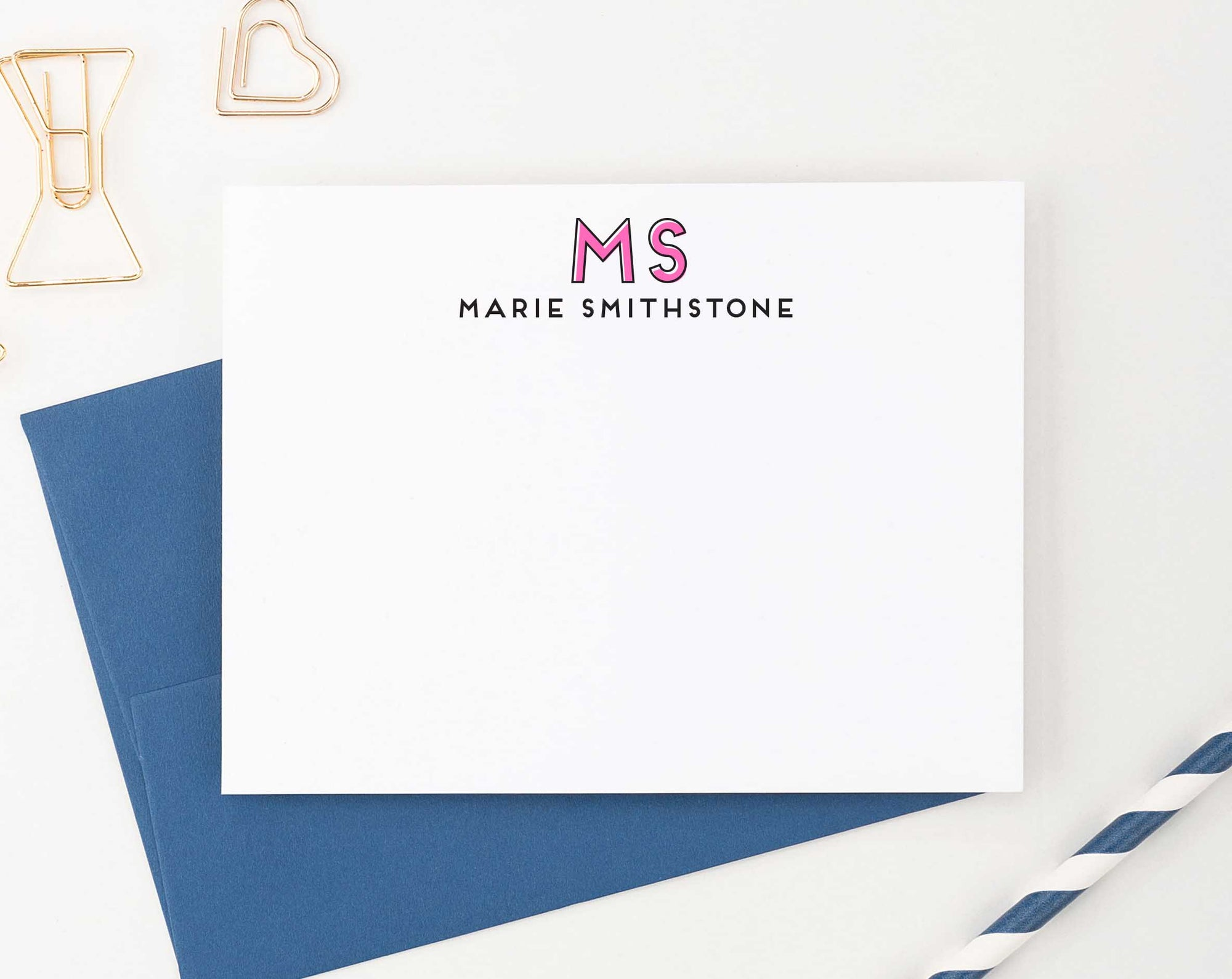 MS036 personalized cute 2 initial monogramed stationary for adults women men elegant classic