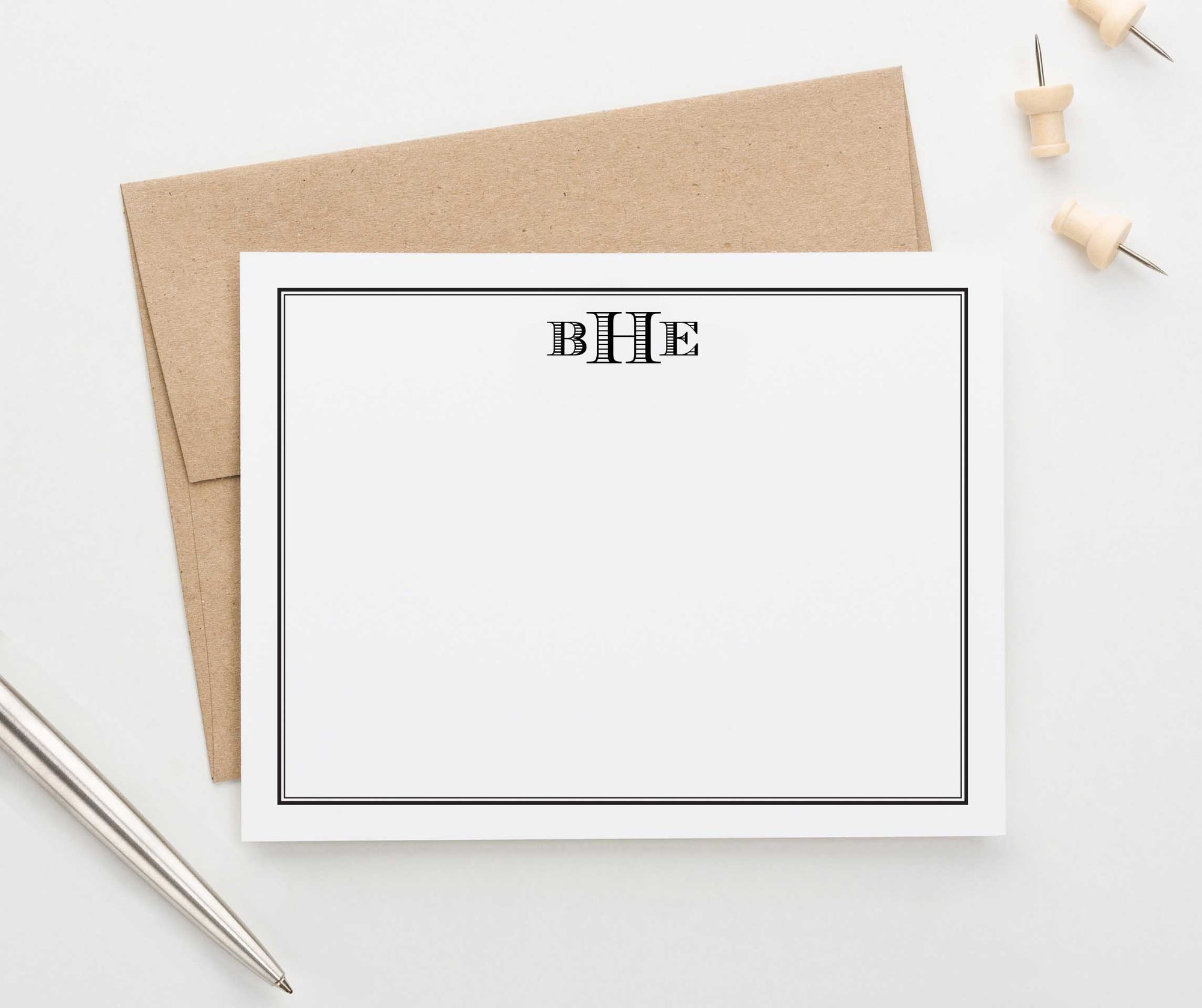 MS039 perosnalized borderd monogrammed stationery sets 3 letter men professional business
