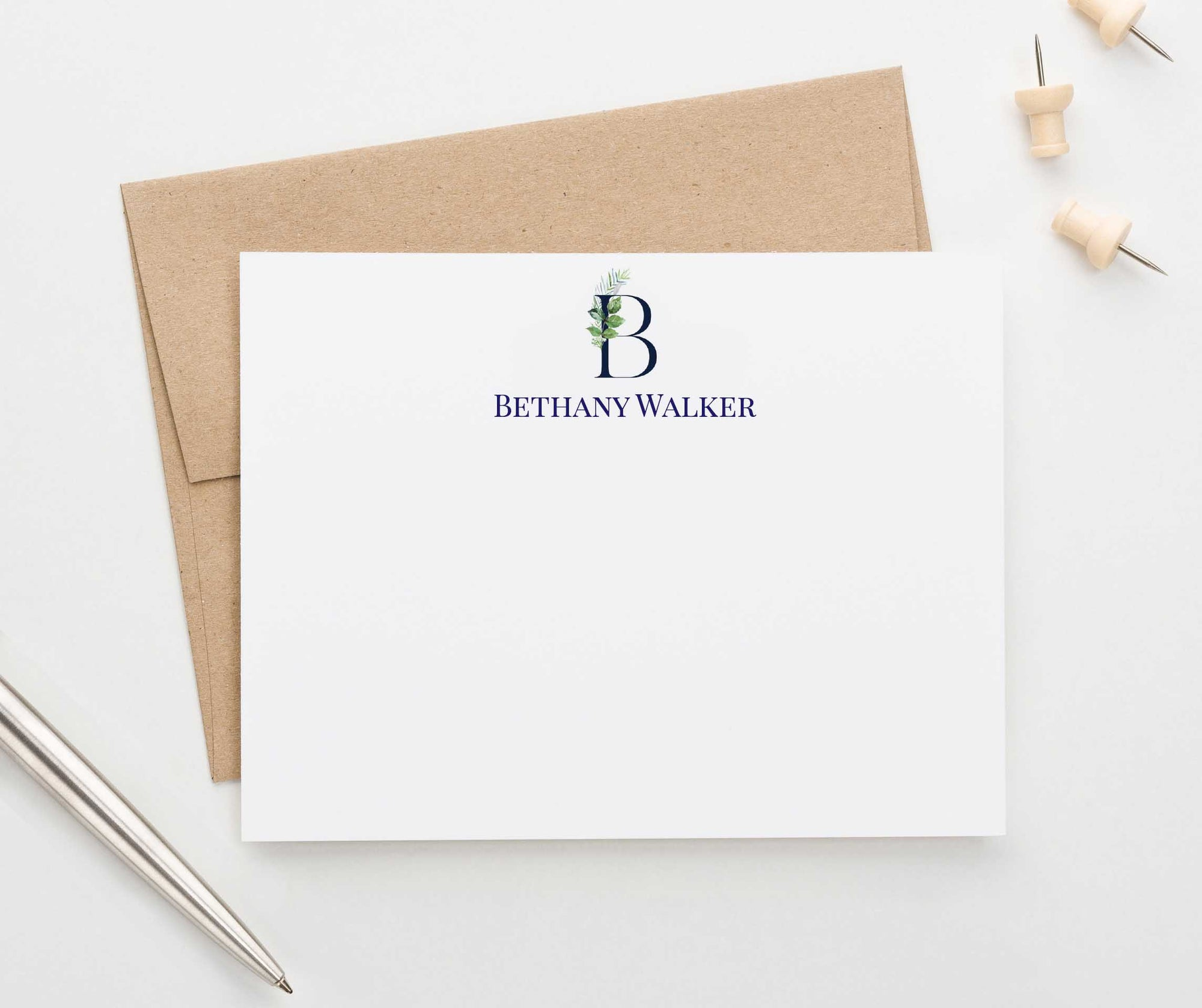 MS041 personalized greenery 1 initial note cards for women men elegant monogram