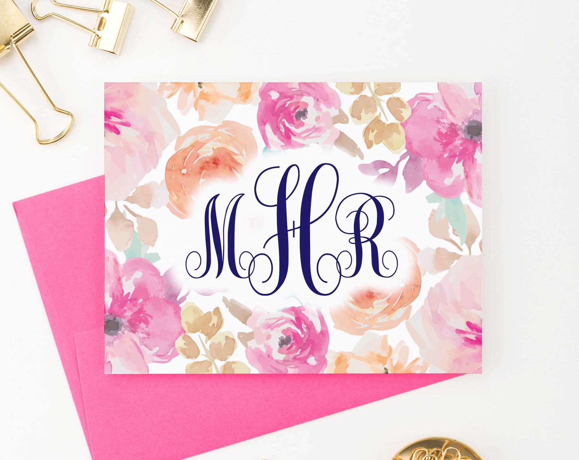 MS046 personalized pink floral monogram note cards for women watercolor elegant modern folded 2