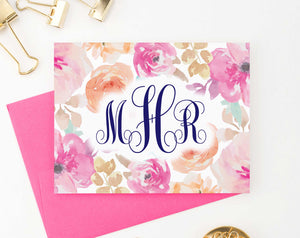 MS046 personalized pink floral monogram note cards for women watercolor elegant modern folded 3