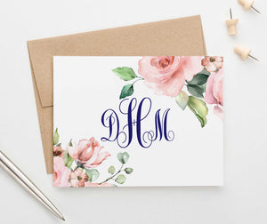 MS048 personalized floral corners monogram stationery set women elegant folded note card 1