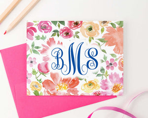 MS049 personalized watercolor floral 3 letter onogrammed notecards set script font women folded 1