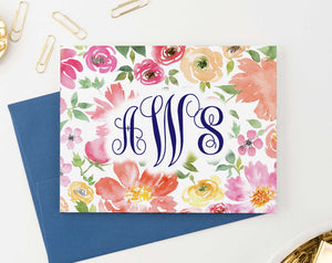 MS049 personalized watercolor floral 3 letter onogrammed notecards set script font women folded 2