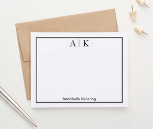 MS051 professional monogramed personalized stationery with classic border 2nd business men women 2