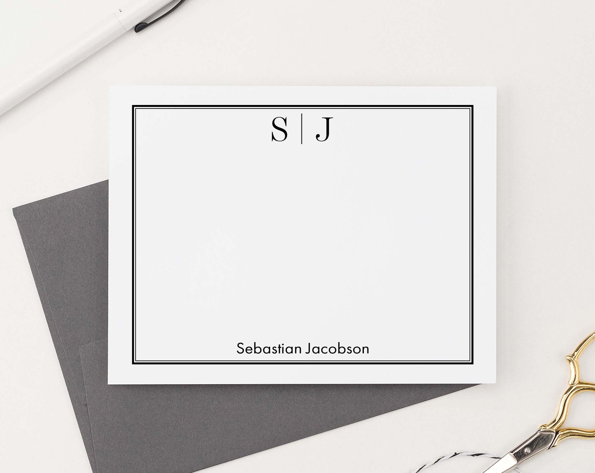 MS051 professional monogramed personalized stationery with classic border 2nd business men women