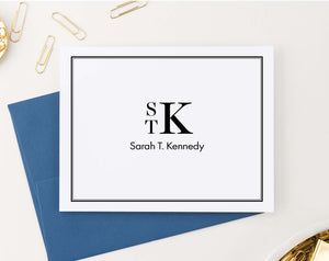 MS053 folded 3 letter monogrammed bordered stationary with name men women professional classic