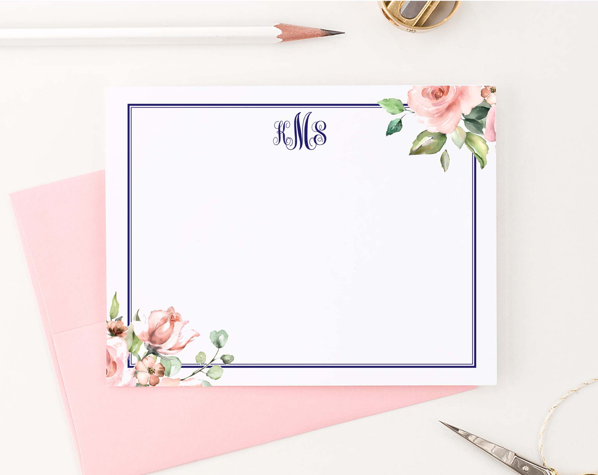 MS055 personalized corner floral script monogrammed notecards with border elegant professional