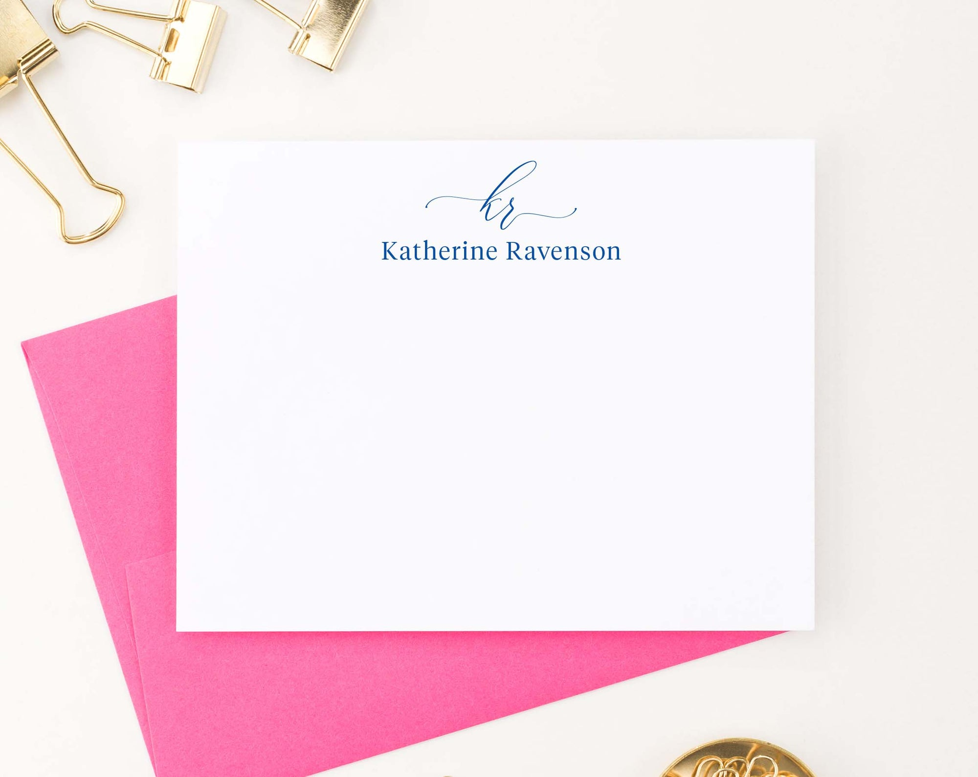 MS057 simple 2 letter and name monogrammed stationary personalized elegant script block font