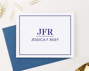 MS060 personalized folded 3 letter monogrammed stationery with border classic professional business 2nd photo