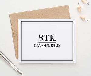 MS060 personalized folded 3 letter monogrammed stationery with border classic professional business