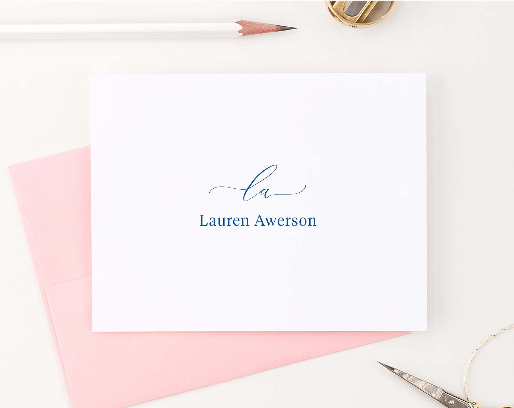 MS061 elegant folded 2 initial and name monogrammed stationary personalized script block font