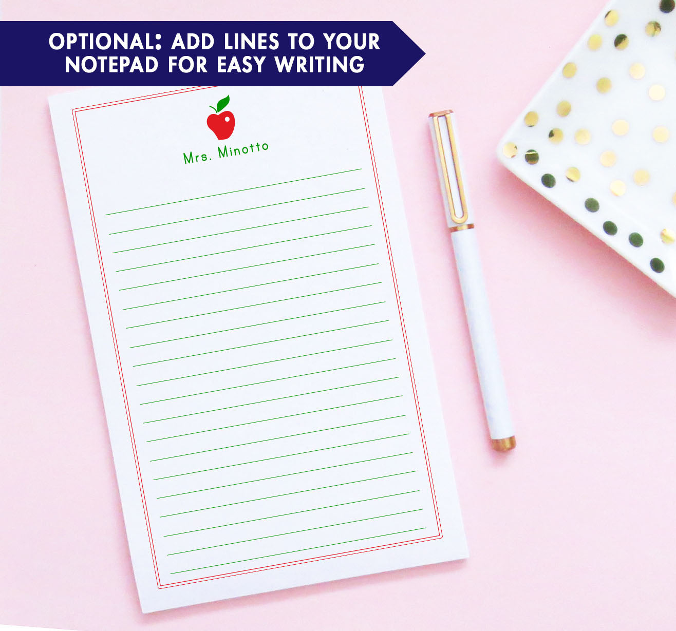 NP008 personalized apple notepad for teachers writing paper