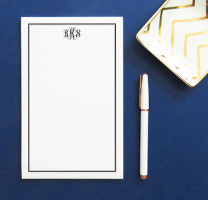NP013 personalized classic 3 letter monogram notepad with border stationery paper 1