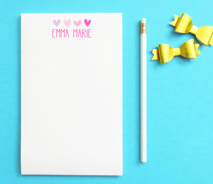 NP019 personalized name and heart note pads for kids letter writing 1