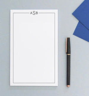 NP020 personalized simple border and 3 letter monogram notepads men women stationery 1