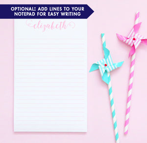 NP035 personalized cute script font note pad set elegant paper stationery. lined