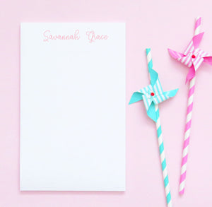 NP038 personalized cute script font kids note pads set little miss paper