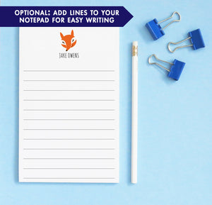NP040 personalized fox notepads for kids animal lined