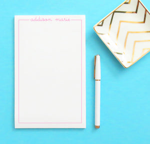 NP044 personalized name and border kids notepad set script letter writing