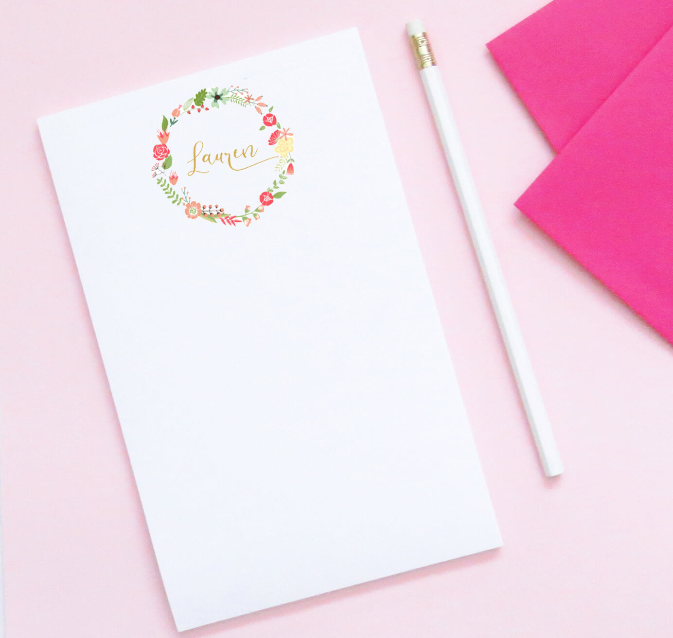 NP047 floral wreath personalized notepads for women script elegant