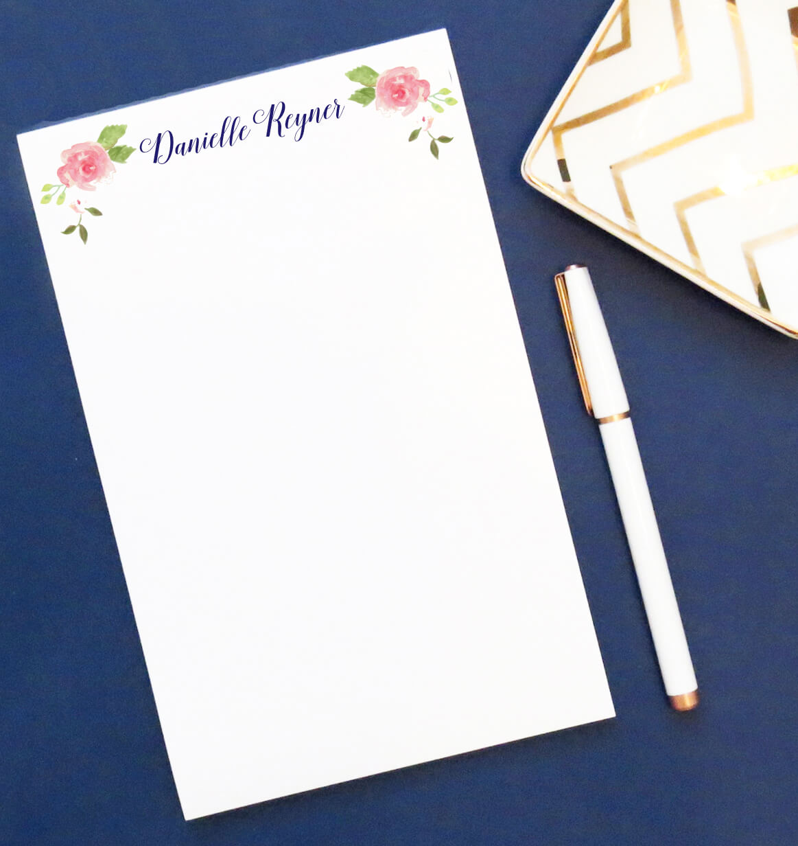 NP048 simple floral notepads personalized script elegant paper