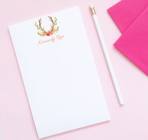 NP050 elegant antler personalized stationery notepads for women writing paper