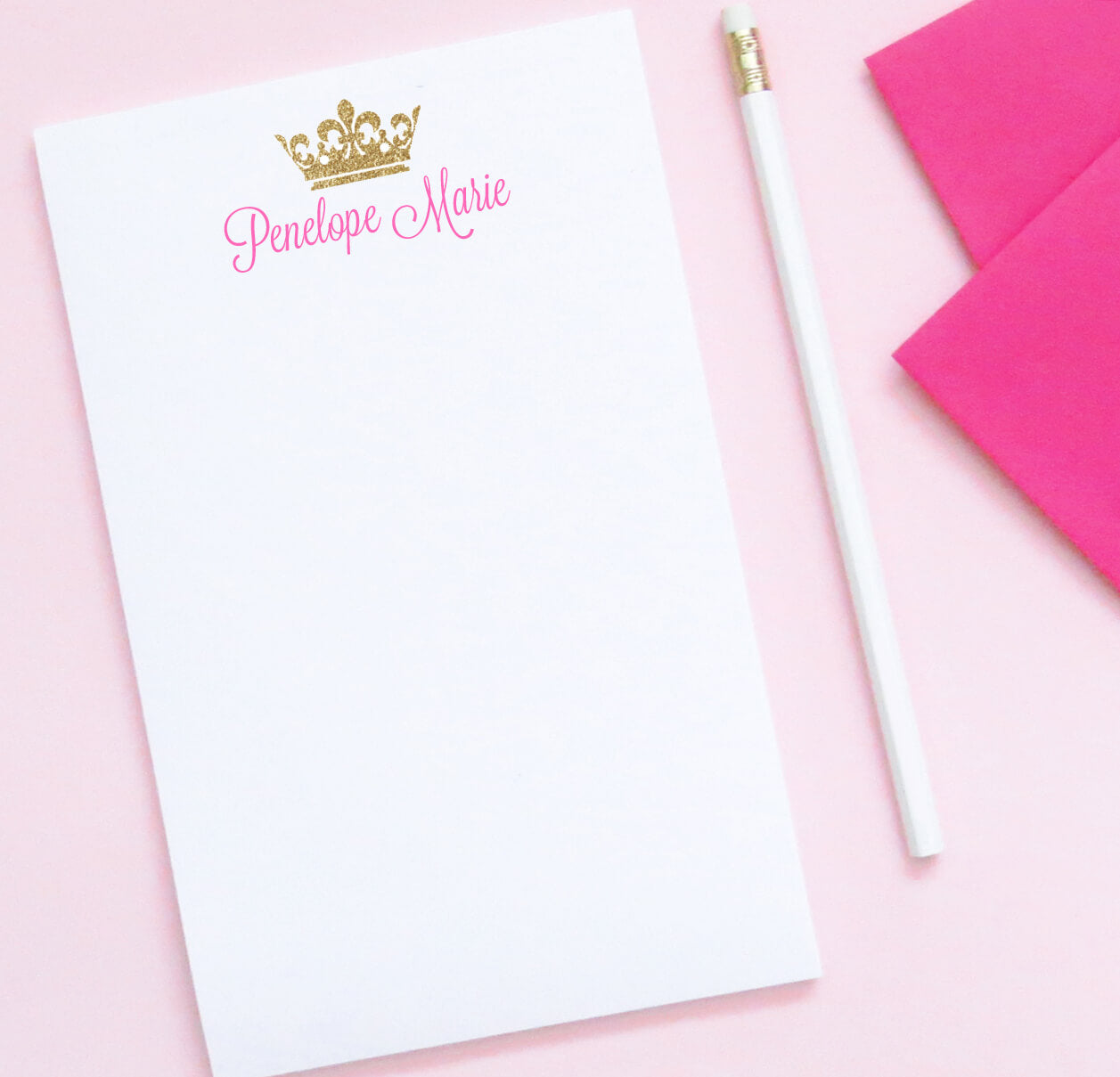 NP060 princess gold glitter crown monogram note pad for girls tiara script