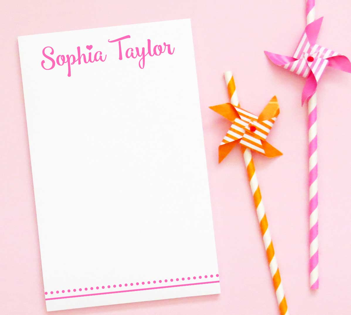 NP061 personalized simple kids notepad with polka dot line heart script