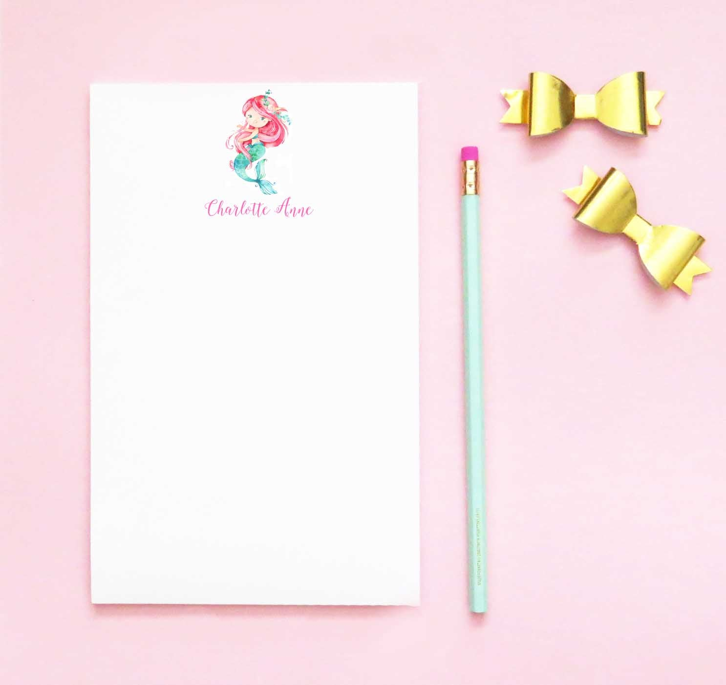 NP062 personalized mermad kids notepad set mermaids girls script