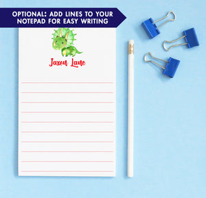 NP065 green dinosaur kid notepads personalized dino animal triceratops lined