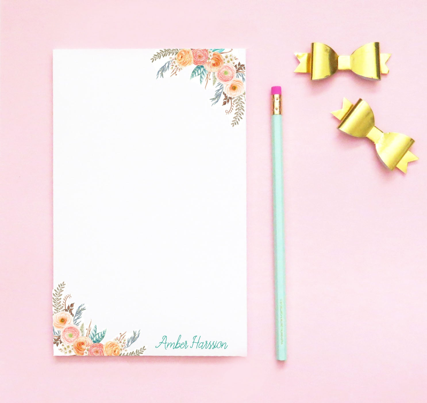 NP068 bohemian floral notepad personalized for women elegant script paper