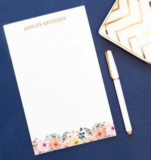 NP072 bottom floral personalized notepad for women flowers block font 1