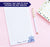 NP073 purple flower personalized notepad for women script floral lined