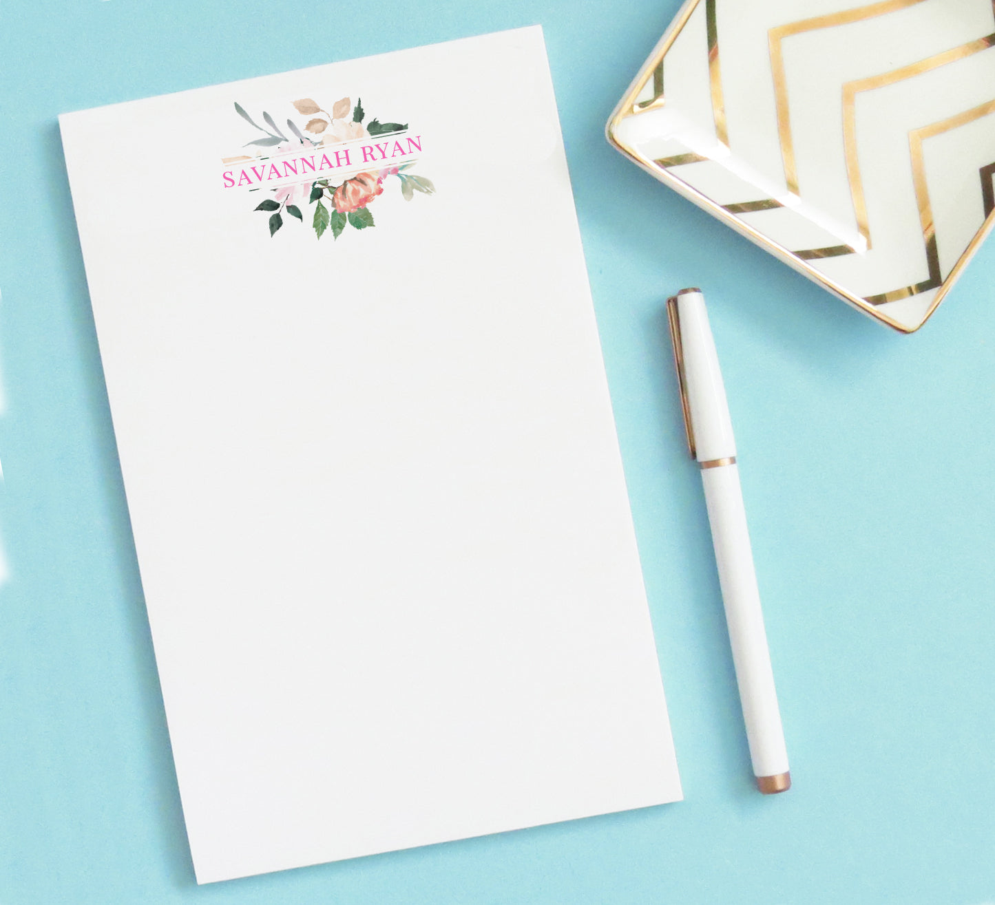 NP075 floral frame name personalized note pad set florals writing paper