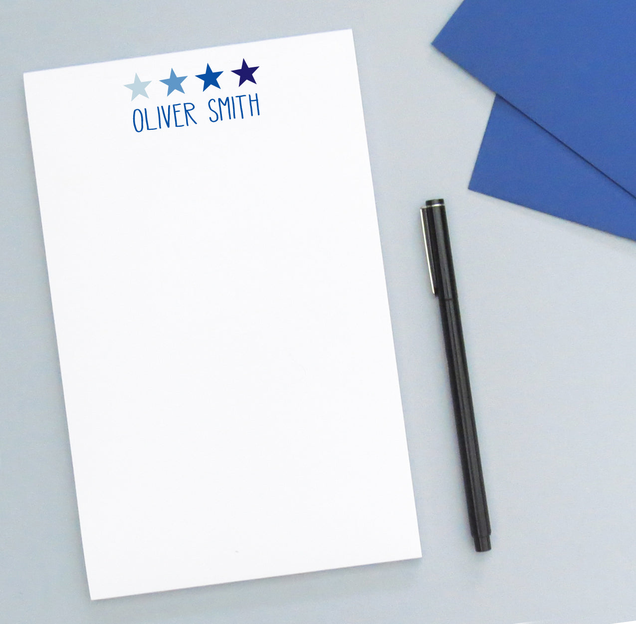 NP079 stars notepad personalized for kids star block font