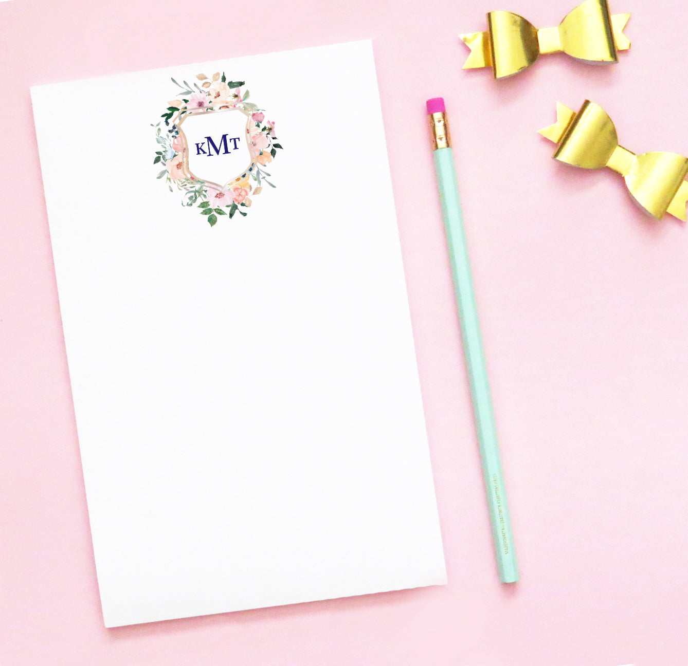 NP083 floral 3 letter monogram notepads personalized flowers block font