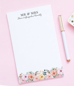 NP086 personalized mr and mrs floral notepads for wedding gift couples flowers stationery 1