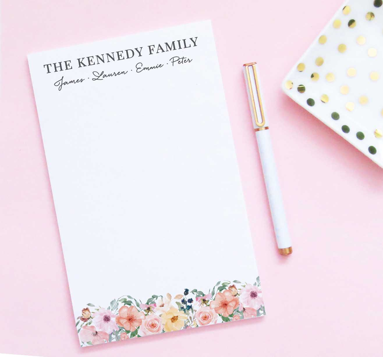 NP088 personalized elegant floral family note pad set florals writing paper 1
