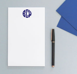 NP097 personalized rounded 3 letter monogram notepads set block font writing paper