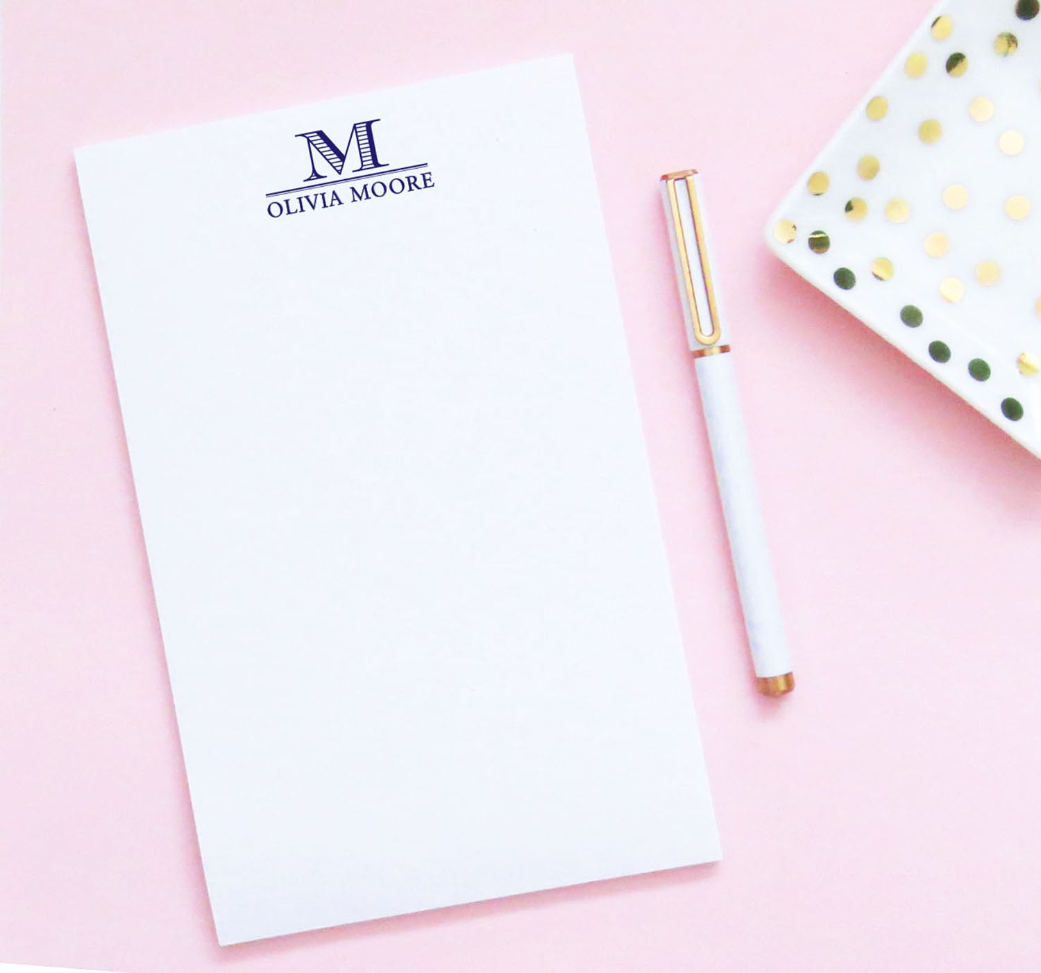 Personalized Classic 1 Letter Monogram Notepads with Name