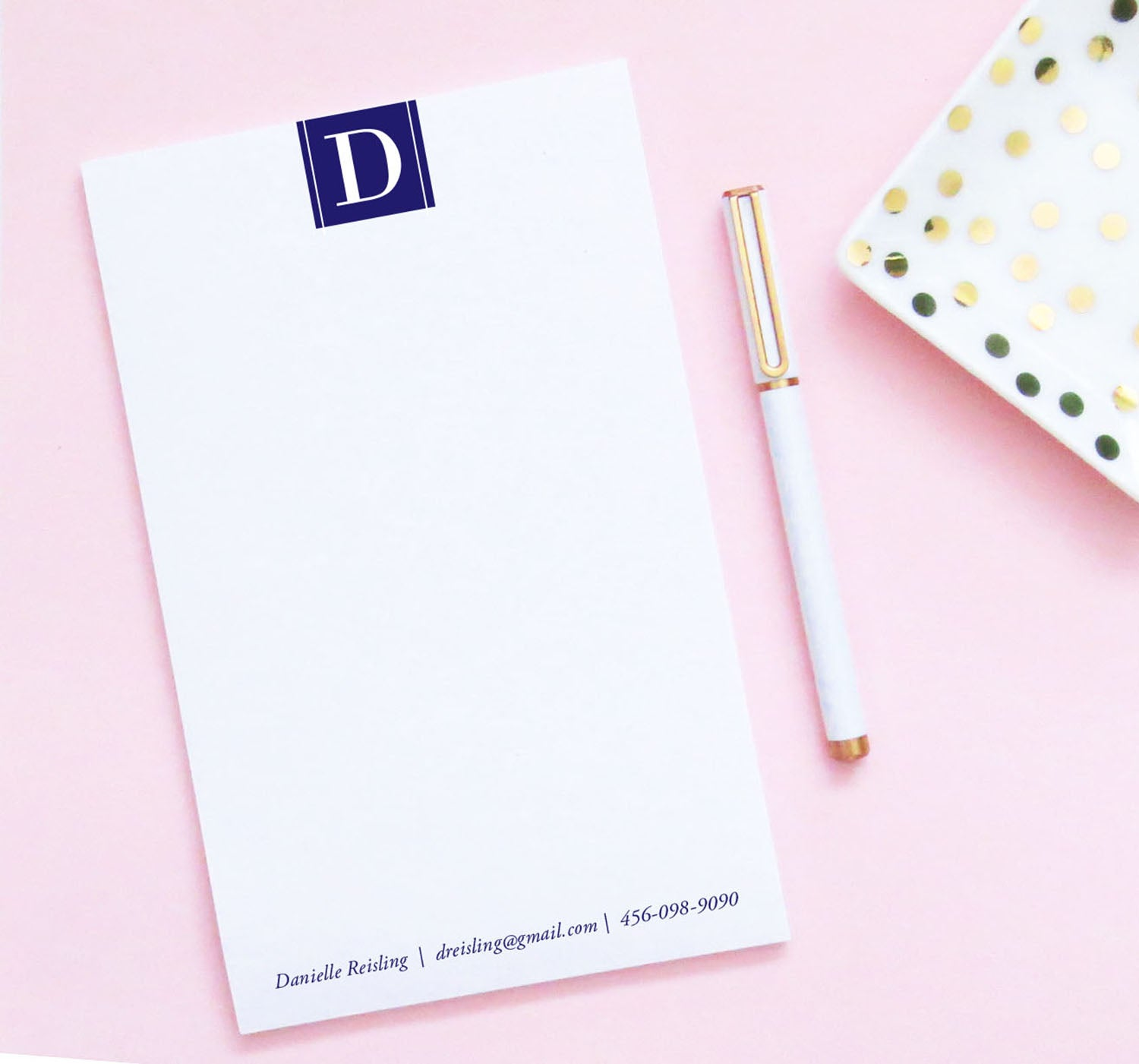 NP100 personalized business 1 letter monogram notepad set business professional