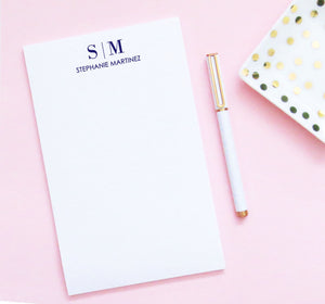 NP102 personalized 2 letter monogram notepad for women and men business professional paper