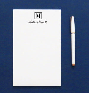 NP103 modern 1 letter monogram notepad set personalized letter writing stationery 1