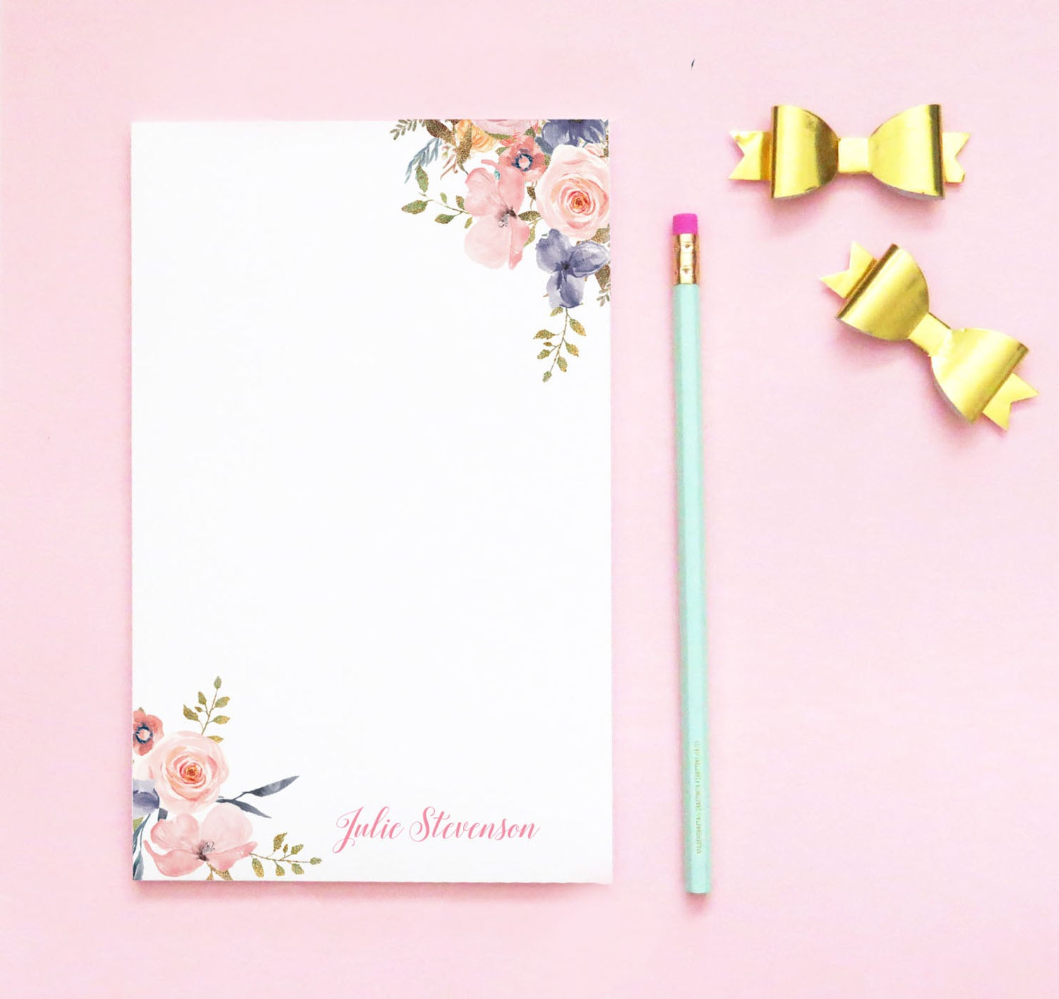 NP115 elegant floral corners note pad personalized for women florals script paper