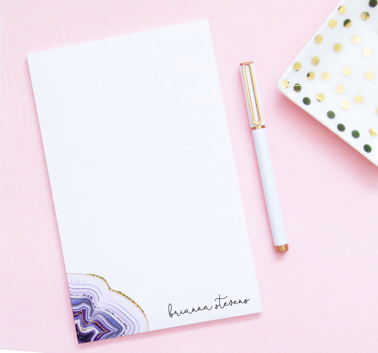 NP123 purple agate personalized notepad for women amethyst writing stationery